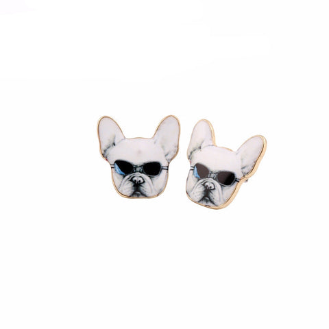 Cool French Bulldog with Shades Stud Earrings