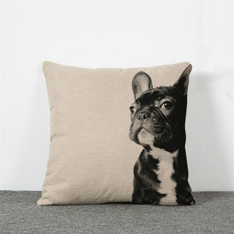 Black French Bulldog Hero Pose One Side Pillowcase