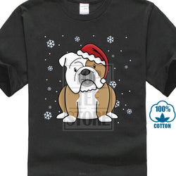 Sitting English Bulldog Santa Hat Snow Men's T-Shirt