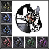 Boston Terrier Vinyl Record Wall Clock