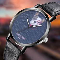 French Bulldog Big Boss Navy Background Leather Quartz Watch