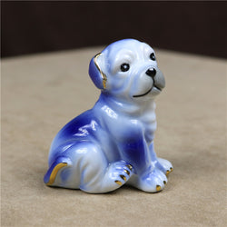 Cute English Bulldog Miniature Blue Painted Ceramic Figurine