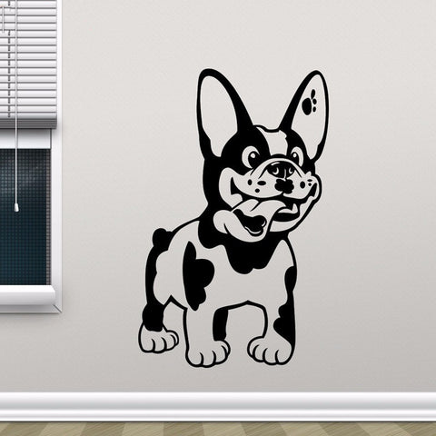 "Happy Cartoon French Bulldog Large Sticker (11.8"" x 22.0""), (15.7"" x 29.5""), (19.7"" x 37.4"")"