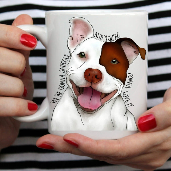 Happy Pit Bull Cartoon Snuggle Love Coffee Mug