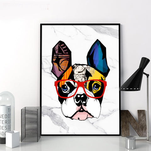 Abstract Marble French Bulldog Graffiti Wall Art Canvas