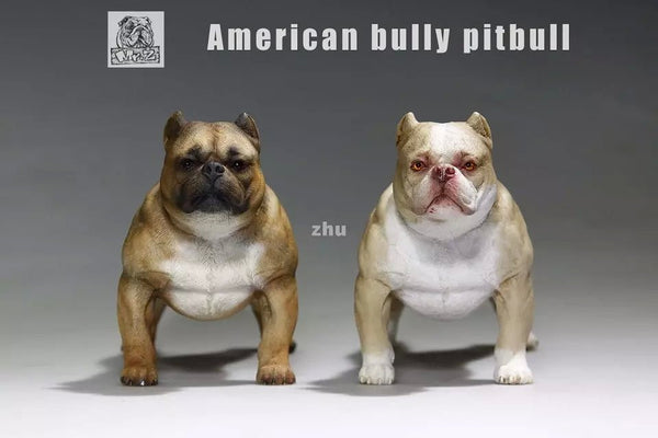 Realistic 1/6 Scale Buff American Bully Pit Bull Action Figurine Collectible 12""