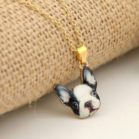 Black White French Bulldog Portrait Pendant Necklace