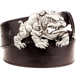 Buff English Bulldog Biting Bone Leather Belt