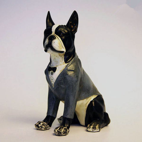 Detailed Boston Terrier Dressed Up Tuxedo Figurine Statue