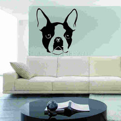 "Boston Terrier Big Ear Black White Sticker (13.8"" X 15.7""), (17.7"" x 20.1""), (22.8 x 26"")"