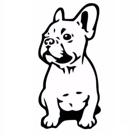 "Sitting French Bulldog Puppy Outline Drawing Sticker (3"" x 6"")"