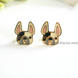 Cute Gold French Bulldog Stud Earrings