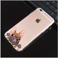 French Bulldog Try To Get Out Cartoon Transparent Phone Case for iPhone