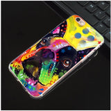 Colorful French Bulldog Abstract Pattern Phone Case for iPhone