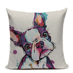 Colored Boston Terrier Water Painting Pillowcase