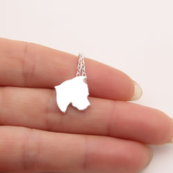 Pit Bull Head Ear Drop Silhouette Pendant Necklace