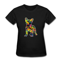 Colorful Rainbow Tide Silhouette French Bulldog Women's T-Shirt