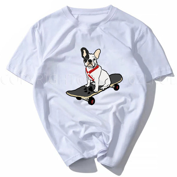 French Bulldog with Red Harness Skateboarding Women's T-Shirt