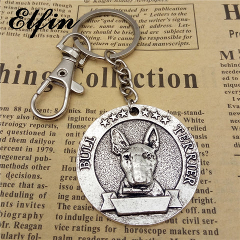 Vintage Bull Terrier Antique Style Keychain