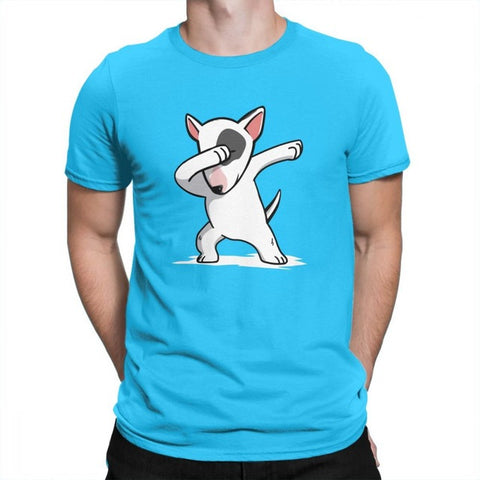 Dabbing White Cartoon Bull Terrier Men's T-Shirt