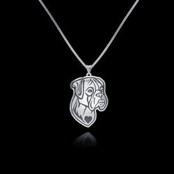 Frowning American Bulldog Heart Pendant Necklace