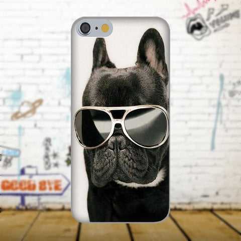 Chilling Black French Bulldog Sunglasses Phone Case for iPhone