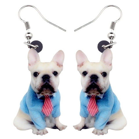 Professional White French Bulldog Portrait Hook Earrings