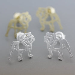 Outlined English Bulldog Stud Earrings