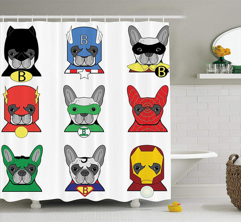 Superhero French Bulldog Cartoon Shower Curtain