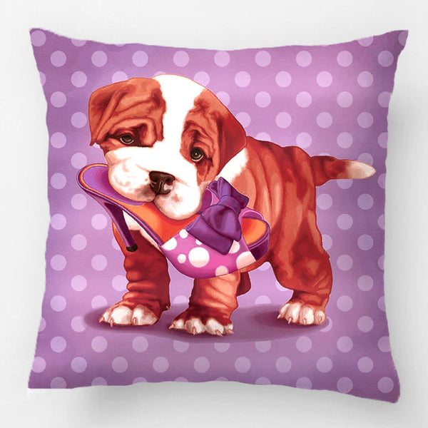 English Bulldog Biting On A Heel Polka Dot Pillowcase