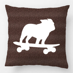 French Bulldog Riding Skateboard Silhouette Pillowcase