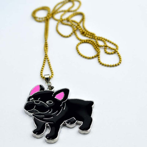 Cute Black French Bulldog Puppy Pendant Necklace
