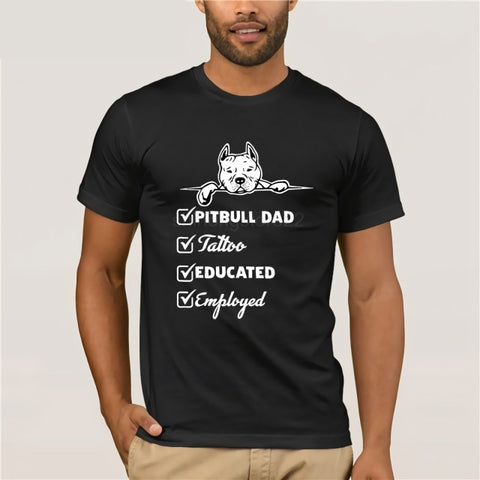Pit Bull Dad, Tattooed, Educated, Employed Men's T-Shirt