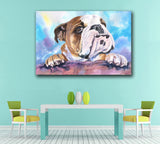 Large English Bulldog Ink Oil Painting