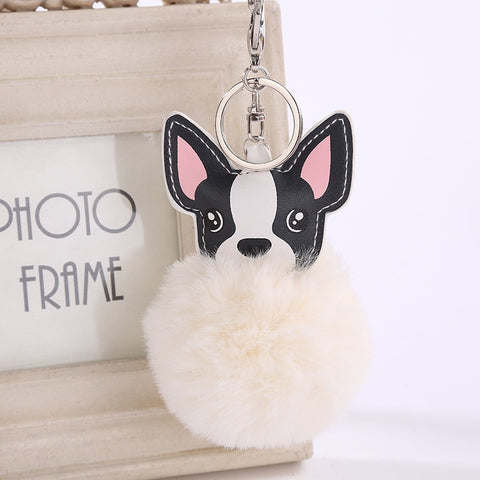 French Bulldog Fluffy Pompom Keychain