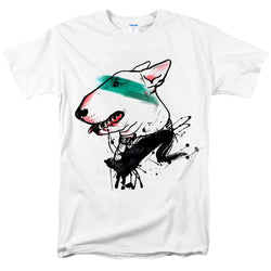 Creative Bull Terrier Green Strip Men's T-Shirt