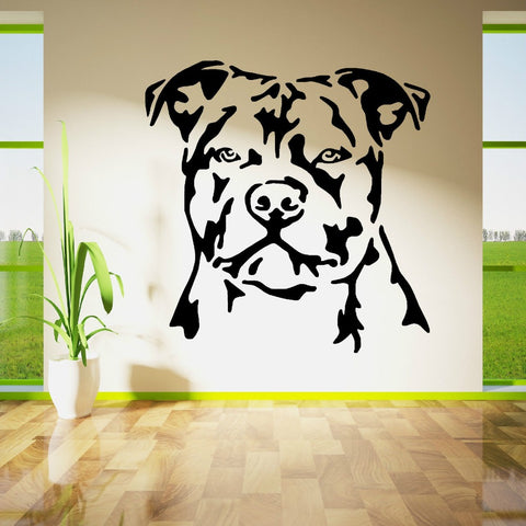 Big Pit Bull Head Outline No Crop Ears Big Sticker