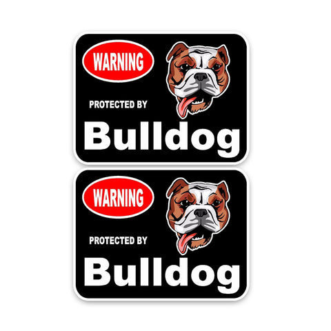 Warning Protected by Bulldog Sticker