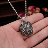 Stainless Steel Big Pit Bull Head with Battle Ears Necklace