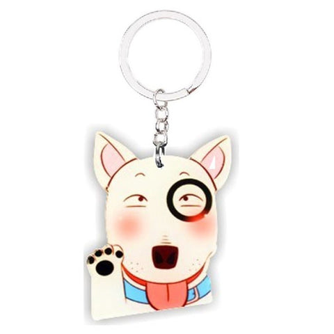 Silly Funny Bull Terrier Waving Keychain