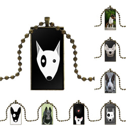 Bull Terrier Rectangle Shaped Chain Ball Keychain