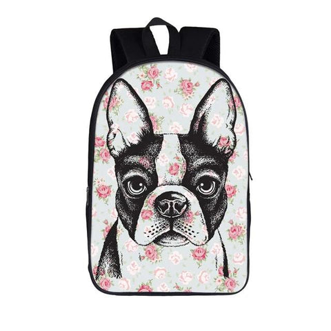 Boston Terrier Drawing Rose Background Backpack