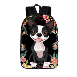 Boston Terrier Floral Black Background Backpack
