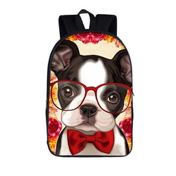 Boston Terrier Puppy Red Bow Tie Glasses Backpack