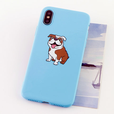 English Bulldog Cartoon Matte Color Background Phone Case for iPhone