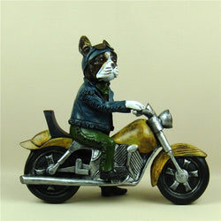 Boston Terrier Motorcycle Rider Statue Handmade Resin Figurine