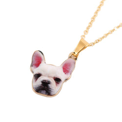 White Portrait French Bulldog Pendant Necklace