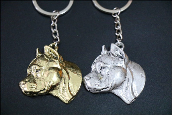 Side 3D Pit Bull Head Keychain