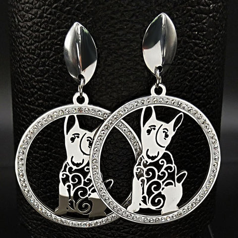 Bull Terrier In Circle Hanging Stud Earrings