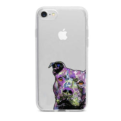 Purple Color Shading Pit Bull Head Phone Case for iPhone